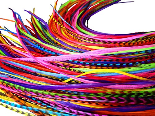 Feather Hair Extensions, 100% Real Rooster Feathers, Long Rainbow Colors, 20 Feathers