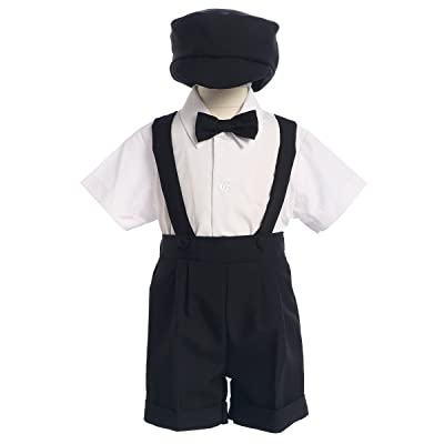 4-Piece Christening Baptism Suspender Short Set - Black or White Cap Bowtie