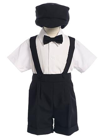 bc3f11515 Amazon.com: 4-Piece Christening Baptism Suspender Short Set - Black or White  Cap Bowtie: Clothing