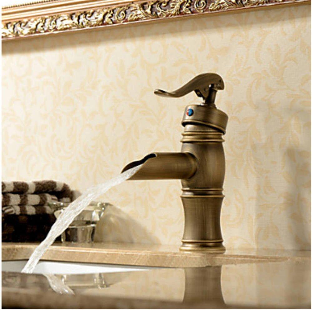 MEIBATH Waschtischarmatur Badezimmer Waschbecken Wasserhahn Küchenarmaturen Antike Warmes und Kaltes Wasser 1 Bohrung der Einhebelsteuerung Küchen Wasserhahn Badarmatur