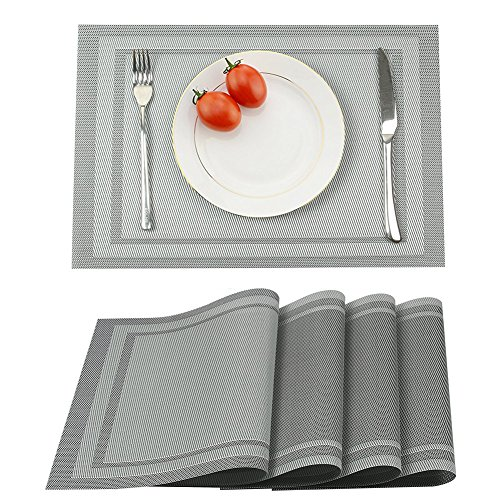 Vikeytim Placemats Set of 4, Heat Insulation & Washable Table Mats, Non-Slip Kitchen Place Mats for Dining Table – 17.7 x 11.8, Gray