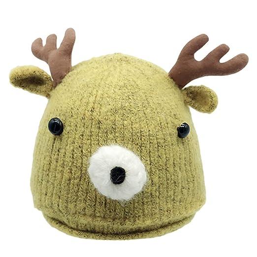 ODJOY-FAN-Natale bambino inverno corna Tenere caldo Cappello lavorato a  maglia-Bambino carino neonato cappelli in lana maglia orlo cappello 2f9b3de8245b