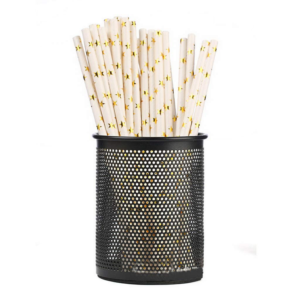 Gadagoda Foil Gold Drinking Paper Straws Cake Flags For Birthday Wedding Decorative Party Event Supplies 25pcs