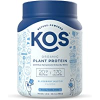 KOS Plant Based Protein Powder - Delicious Blueberry Muffin Flavor - Vegan Protein Powder with Blue Spirulina and Immune…