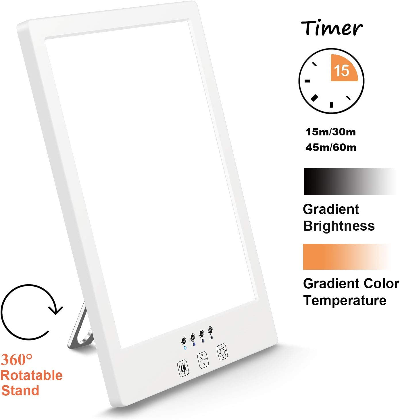 Comenzar Sun Lamp LED White Warm Sad Lamp UV Free 2000-12000 Lux Gradient Brightness Therapy Lamp Timer Function and Touch Control for Home Office Use