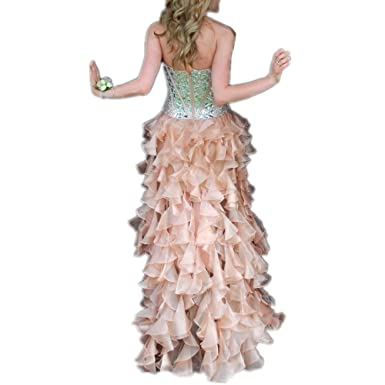 LeoGirl Womens Country Strapless Beaded Hi Low Prom Dresses with Organza Ruffles Pageant Formal Gown (