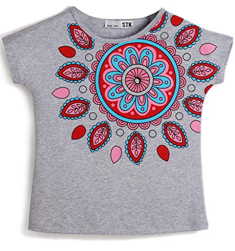 BesserBay Toddler Girl's Embellished Graphic Tee Top Floral Cap Sleeves T-Shirt 6-7