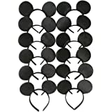 CHuangQi Mouse Ears Headband, Solid Black (Set of 12)