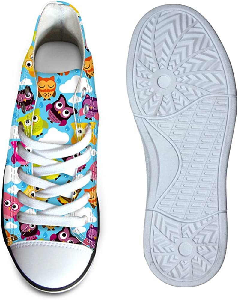 FOR U DESIGNS Fashion Cute Colorful Cat Owl Print High Top Casual Little Kids Canvas Skate Shoes Sneakers