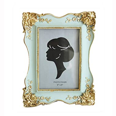 SIKOO Vintage Picture Frame 4x6 Antique Tabletop Wall Hanging Photo Frame with Glass Front for Home Decor (Green)