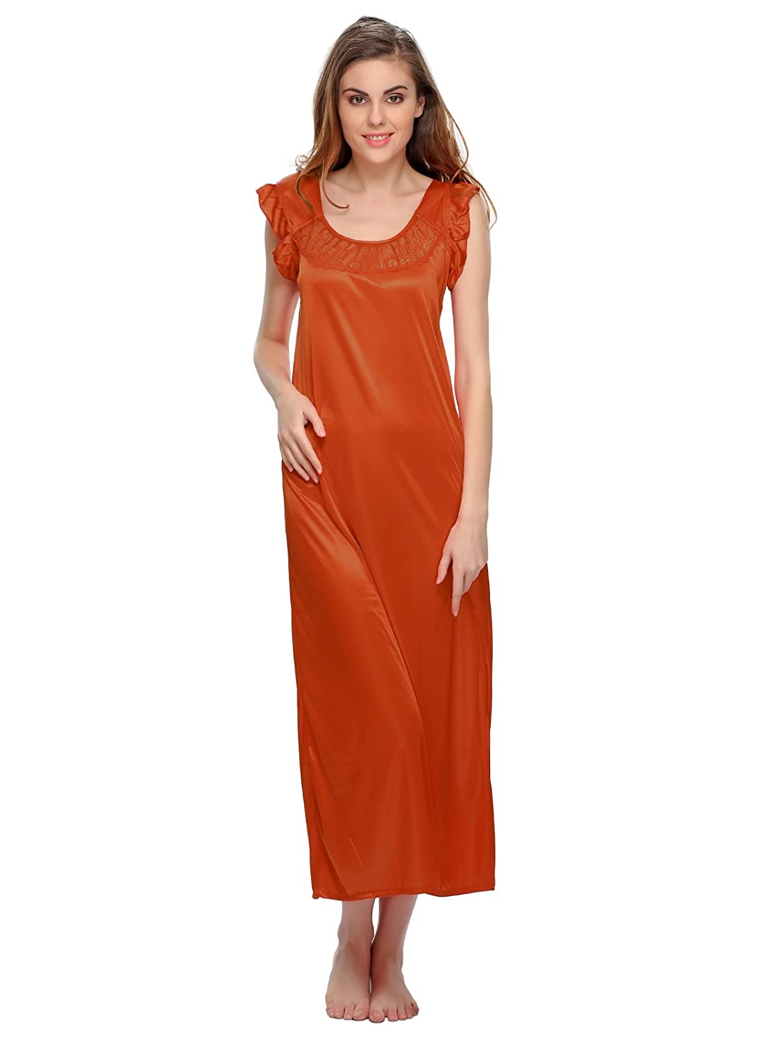 Clovia Satin Long Nighty - Orange