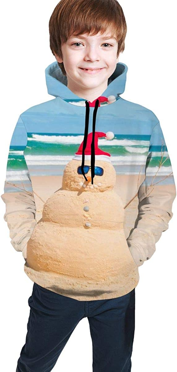 Teen Pullover Hoodies with Pocket Australia Beach Snowman Soft Fleece Hooded Sweatshirt for Youth Teens Kids Boys Girls