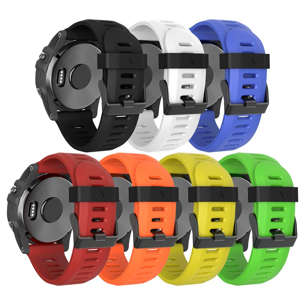 ANCOOL Compatible with Fenix 5X Bands, 26mm Width Soft Silicone Replacement Sport Strap Wristband for Fenix 5X/Fenix 3/Fenix 3 HR Smartwatch(Green/White/Red/Blue/Orange/Black/Yellow)