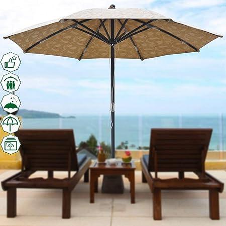 3M Sombrilla Grande Sombrilla Sombrilla Patio Al Aire Libre Muebles De Jardín Cafetera Toldo Protección De La Sombrilla, Manivela Colgando Ratán Voladizo Sombrilla De Aluminio- SIN Base: Amazon.es: Hogar
