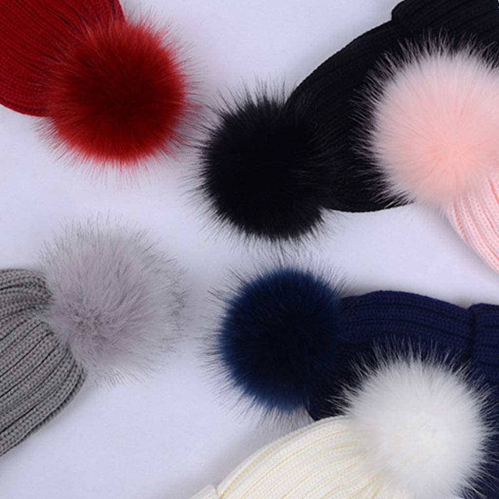 Lamdoo Child Winter Ribbed Knitted Hat Solid Color Plain Kid Cuffed Beanie Cap Thicken with Cute Fluffy Pompom Ball Beanie with Detachable Chunky Faux Fur Wine red