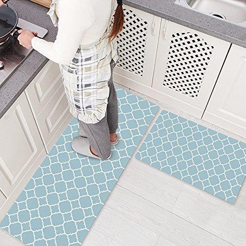 Ustide 2 Piece Creative Non-Slip Kitchen Mat Rubber Backing Doormat Runner Rug Set,Geometry Pattern Design (17.7