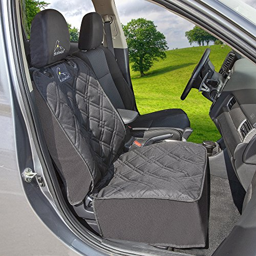 Meadowlark Car Seat Cover for Dogs: Premium Extra Thick Quilted Full Protection Front Seat Protector,Side Flaps, Waterproof, Durable, Nonslip Design, RFEE Bonus– Pet Seat Belt & Headrest Protector by Meadowlark (Image #1)