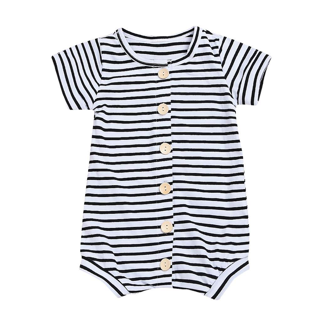 NUWFOR Newborn Infant Baby Girl Short Sleeve Striped Romper Jumpsuit Outfits Clothes(White,12-18 Months)