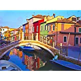 PHOTOGRAPH CITYSCAPE VENICE ITALY BURANO BRIDGE CANAL ART PRINT POSTER MP3340A