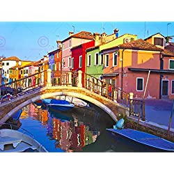 "PHOTOGRAPHY CITYSCAPE VENICE ITALY BURANO BRIDGE CANAL ART PRINT 18 x 24 "" POSTER MP3340A"