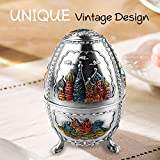 Oaq Toothpick Dispenser   Automatic Egg-Shaped Toothpick Holder with Vintage Ornamental Design Push Button and Bottle Opener for Kitchen Decoration Accessories Surprise Present   Silver   1394.2