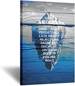 Kreative Arts - Canvas Quotes Wall Art Vintage Wood Style Success Inspiration Motivation Iceberg Poster Stretched Gallery Wraps Giclee Print Ready to Hang for Office and Home Decor Gift 24x36inch
