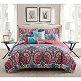 VCNY Casa Re'al Retro Style, Vibrant, and Lightweight 4-Piece TWIN Size Quilt Set in Pink/Turquoise Made of 100% Polyester