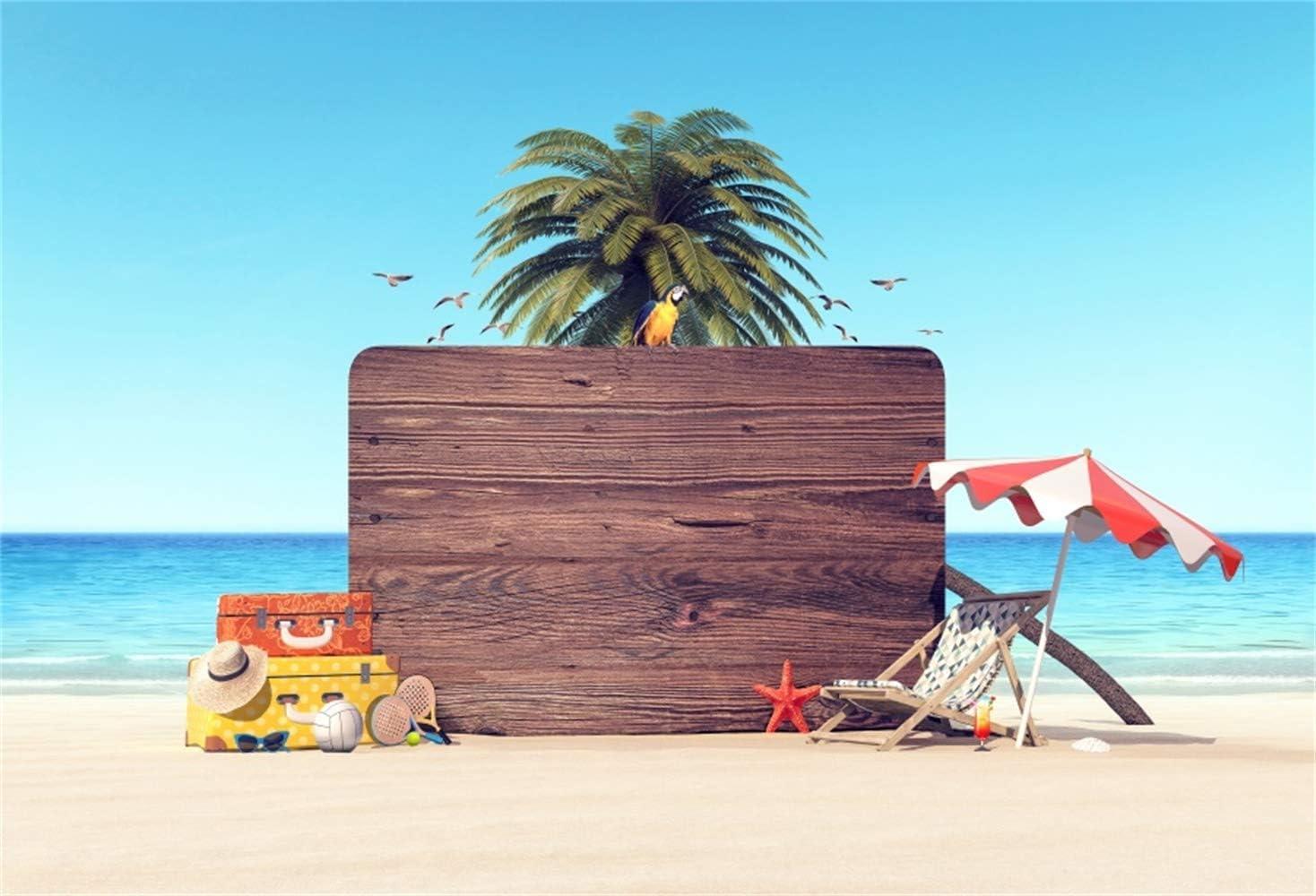 Aliyz 7x5ft Seaside Vacation Theme Fotografía Telón de Fondo Azul Mar Agua Palmera Sol Playa de Arena Maleta Fondo para Viajes Bebé Adultos Retratos Pantalla de Video Photo Booth Prop