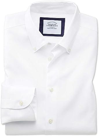 Camisa Business Casual Blanca Slim fit sin Plancha con Cuello con Botones: Amazon.es: Ropa y accesorios