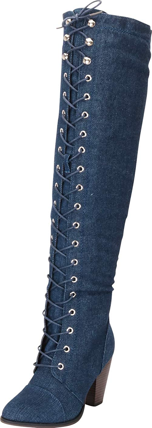 Dark bluee Denim Cambridge Select Women's Closed Toe Lace-up Chunky Stacked Heel Over The Knee Boot