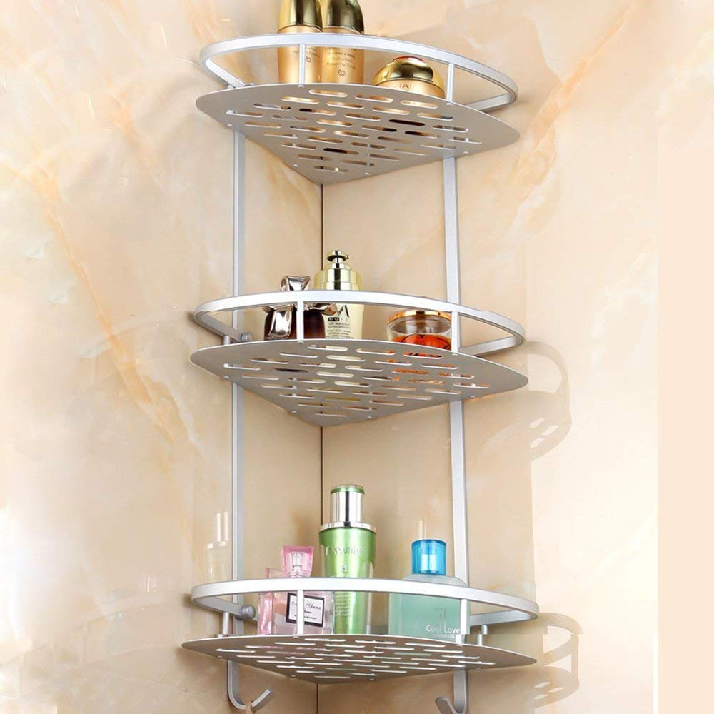 Home-Neat Bathroom Shelf (No Drilling) Durable Aluminum 3 tiers shower storage Towel Bar basket kitchen corner sticky No Drills Shelves (Square)