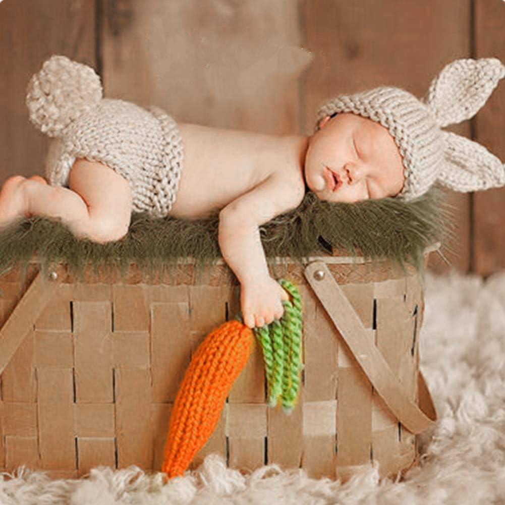 Shorts FYMNSI Neugeborenen Baby M/ädchen Jungen Fotoshooting Kaninchen Kost/üm Fotografie Requisiten Niedlichen Hase Ohr Hut M/ütze Karotte S/äugling Foto St/ützen Outfit 3tlg