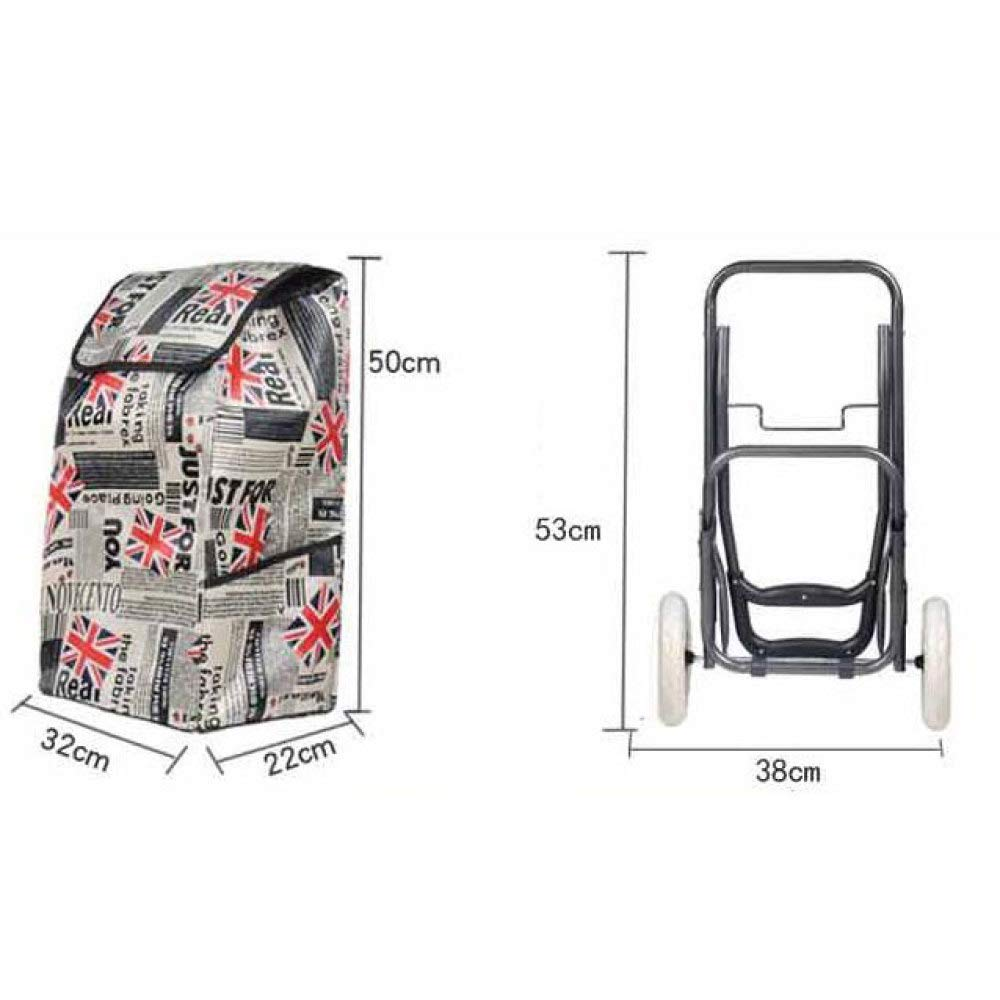 Trolley Two Rounds Shopping Foldable Portable E