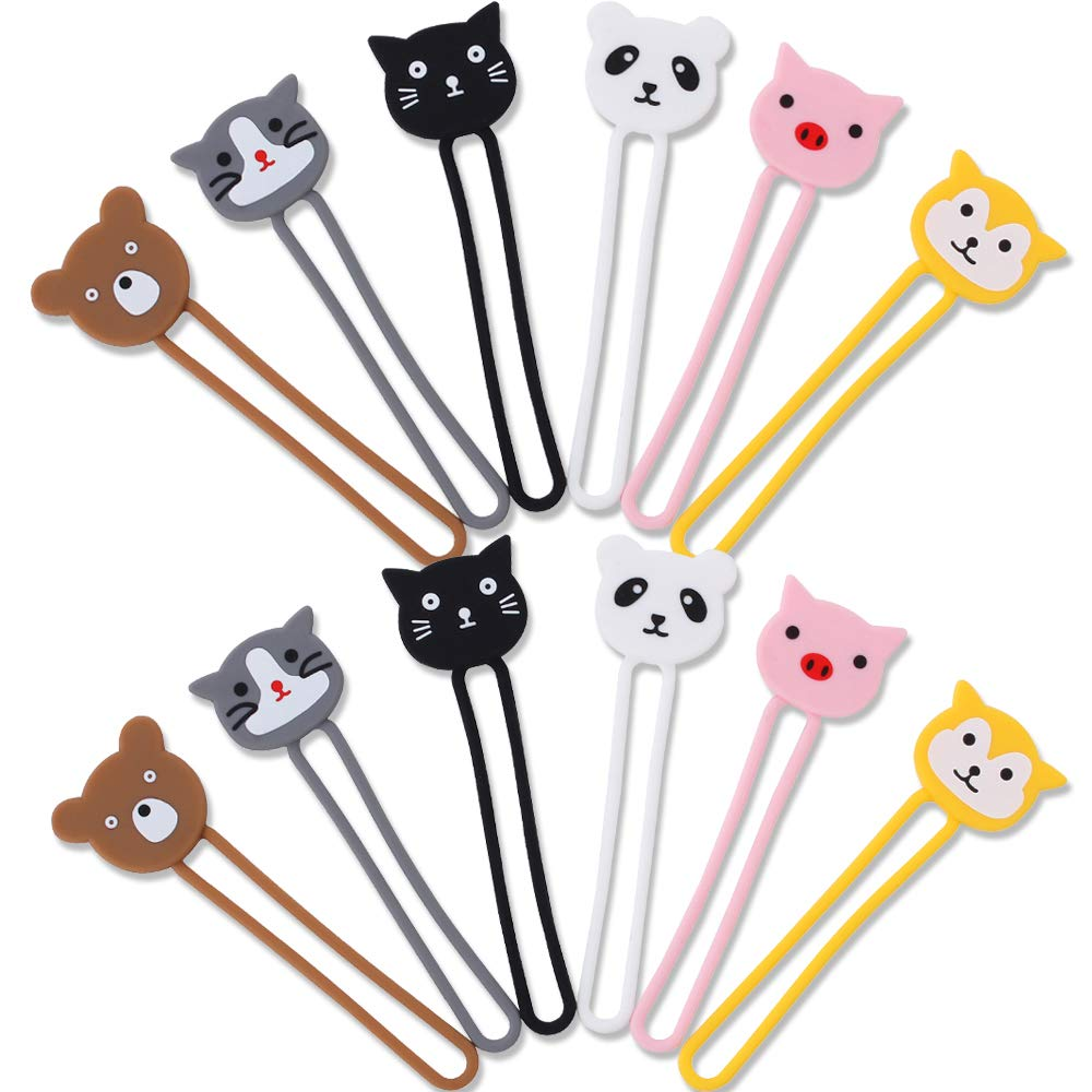 CKANDAY 12 Pack Cartoon Earphone Cable Tie Cord Organizer 6 Colors of Animal Shapes Silicone Earbud Straps Holder Winders Wrap Key Chain Manager Keeper