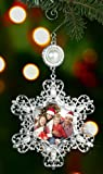 Christmas Photo Ornament - Silver Metal Snowflake with Crystals and Pearls - Hanging Snowflake Ornament - Filigree Snowflake