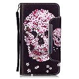 LG G Stylo Case,LG G Stylus (LS770) Case, GNT(TM) LG G stylo wallet case,[Wrist Strap] Flip Folio [Kickstand Feature] PU leather wallet Case Cover For LG G Stylus/LG G Stylo(Petals Skull)