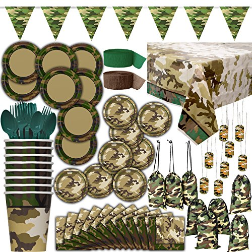Camouflage Themed Party Supplies - 8 Guest - Dinner Plates, Cake Plates, Cups, Napkins, Cutlery, Tablecover, Streamers, Dog Tags, Cloth Loot Bags, Pennant Banner - Decorations and Tableware and Favors