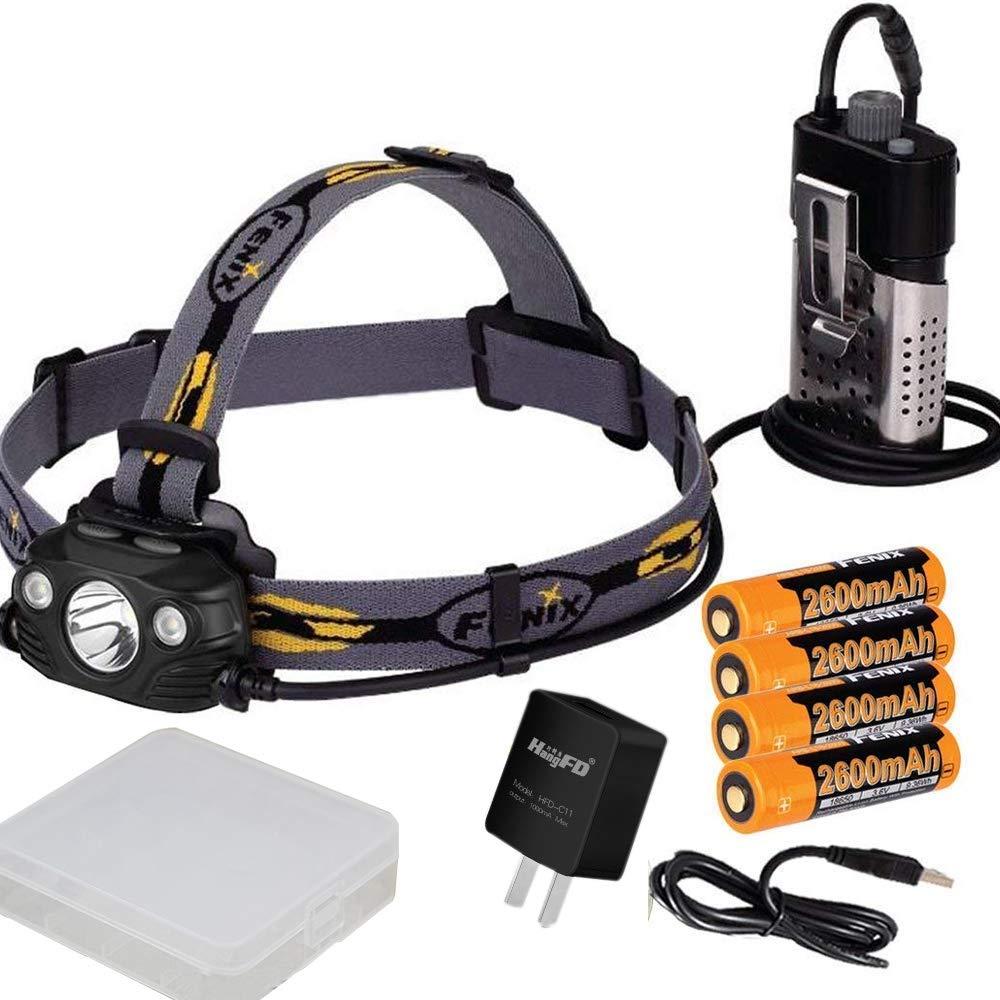 Fenix HP30R 1750 Lumen CREE LED Headlamp with 4 X Fenix rechargeable batteries and mini USB light (black)