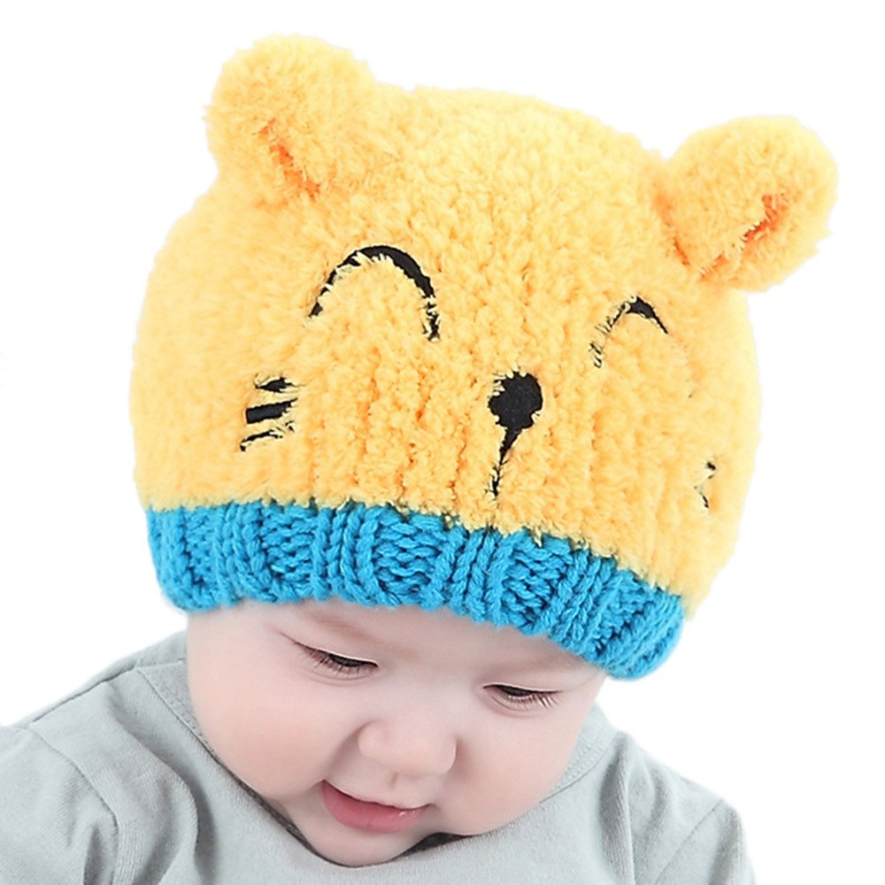 DRAGONHOO Cat Ears Beanie Cap Winter Warm Knit Caps for Toddlers Baby Girls and Boys (Yellow) by DRAGONHOO
