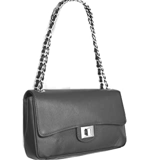 Kleine Schulter- / Henkeltasche in Grau Leder, Italy Fashion-Formel