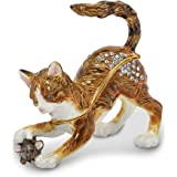 Bejeweled Pewter Playful Cat Mouse Trinket Box