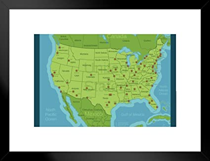 Amazon.com: Poster Foundry United States Major Cities Map ...