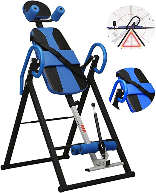 Inversion Table Fitness Chiropractic Back Stretcher Heavy Duty 300LBS Weight