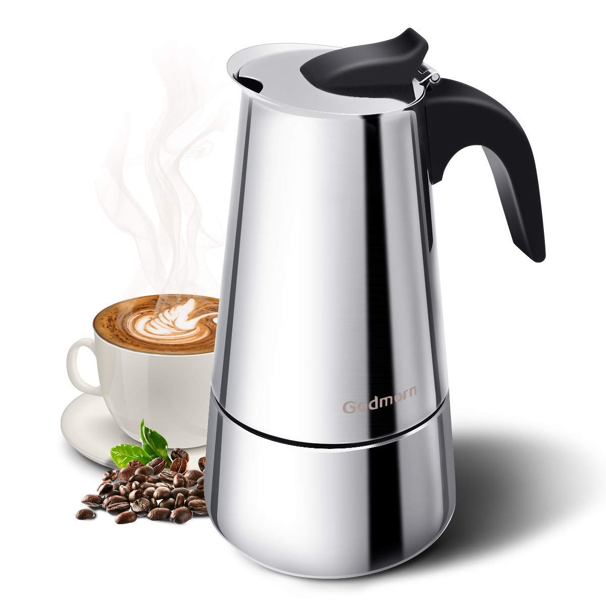Godmorn Stovetop Espresso Maker, Moka Pot, Coffee Maker: Classic Cafe Maker made of 430 stainless steel for 6 cups (300 ml), suitable for induction cookers (espresso cooker)