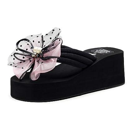 Summer Women Floral Beach Flip Flops  Sandals Wedge Heels Slippers