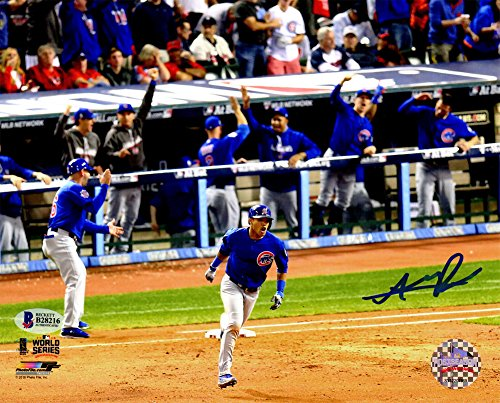 Addison Russell Autographed/Signed Cubs 2016 World Series Grand Slam Rounding Bases 8x10 Photograph - Authentic Signature -