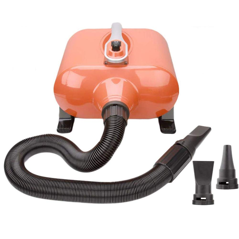 orange TSTLCLLMZ Professional Dog Grooming Double Motor Hair Dryer 3000W Low Noise Stepless Speed,with Flexible Hose and 3 Nozzles