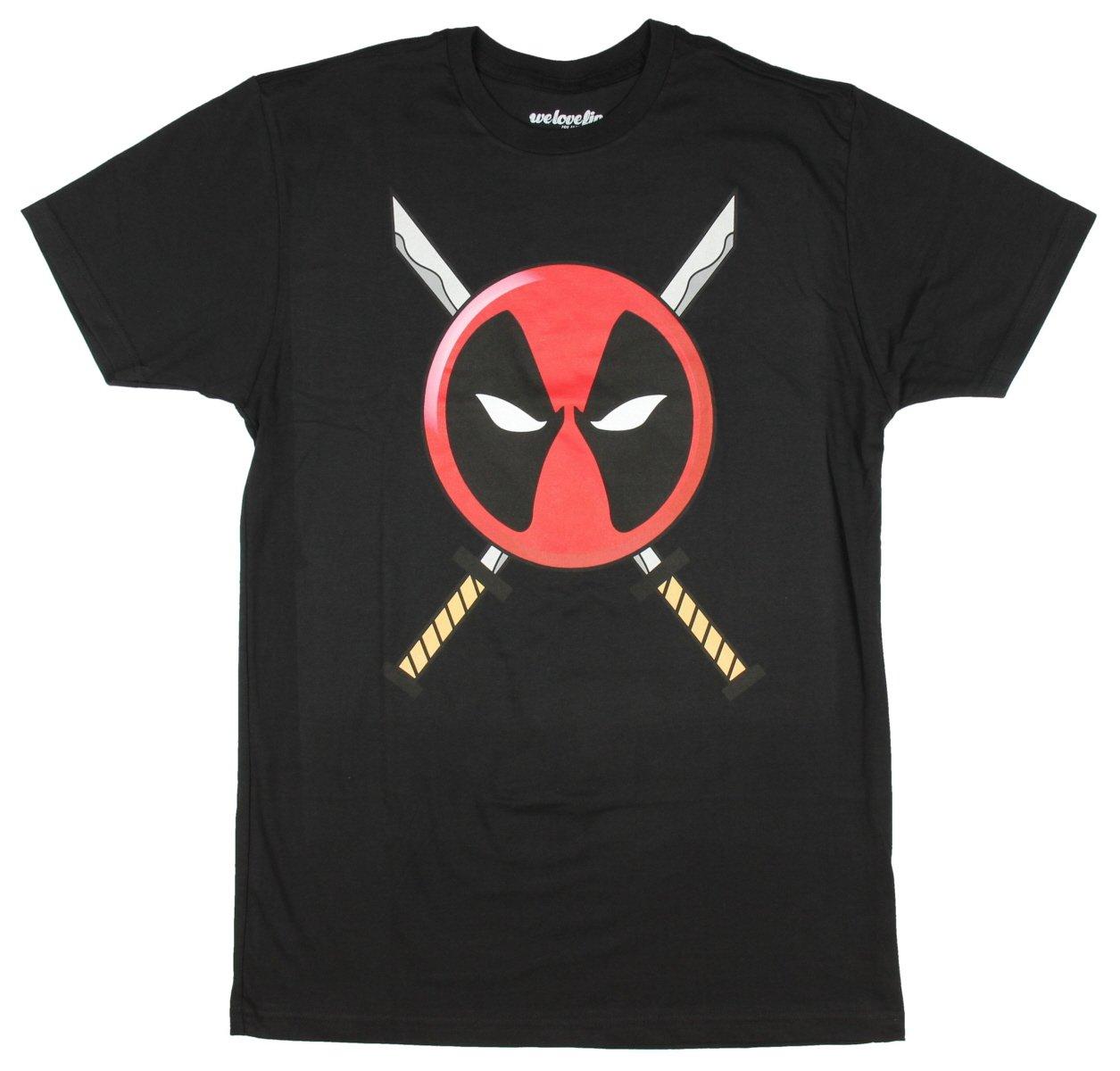 Marvel Deadpool Katana Logo Mens T-shirt (Medium, Black)
