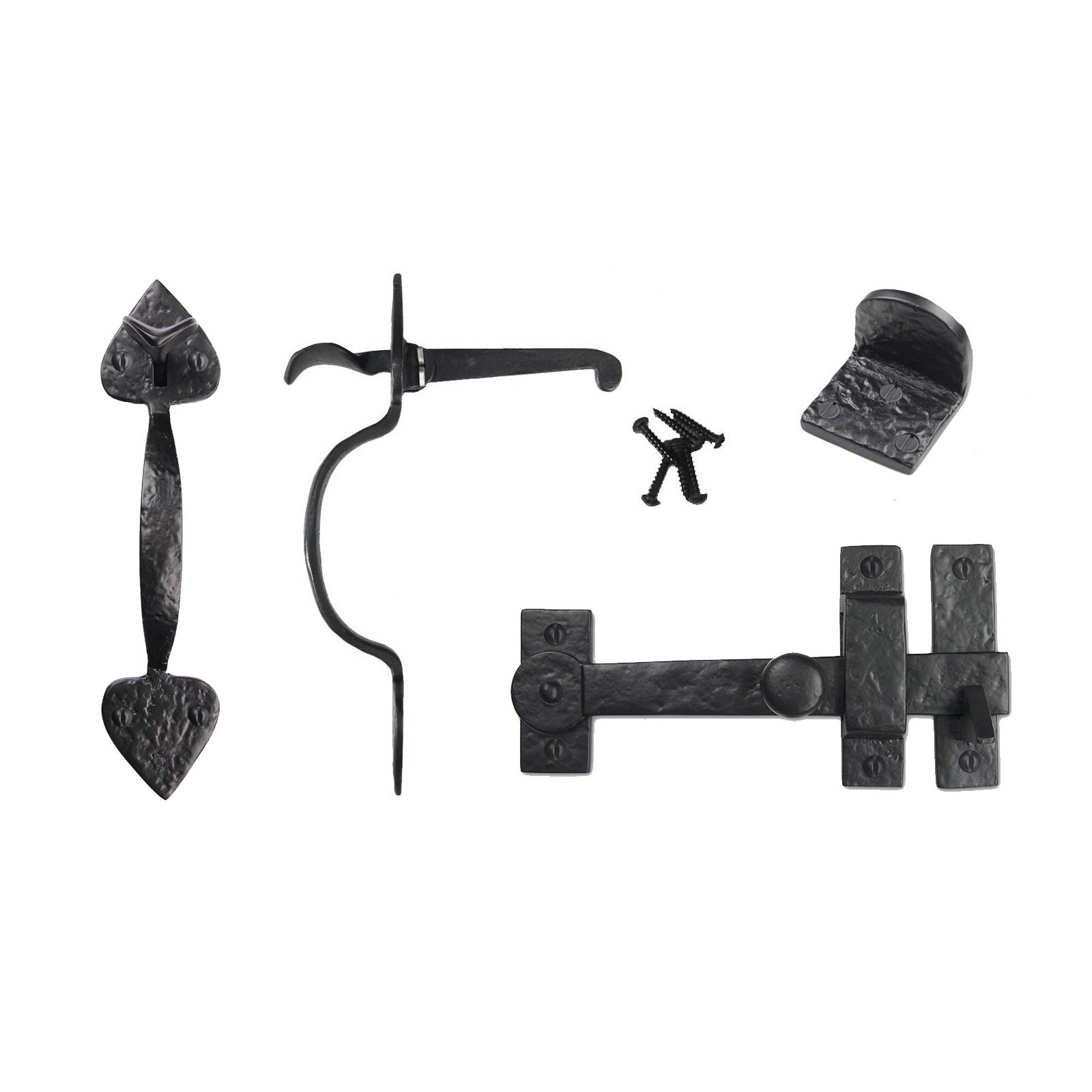 Iron Valley - Gate Kit - Drop Bar, Spear Thumb Latch, Gate Stop - Solid Cast Iron