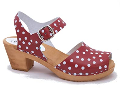 0e7bd0088b Moheda Swedish Clogs   High Heel Open Toe Clogs Moa Red Dots in Leather (US